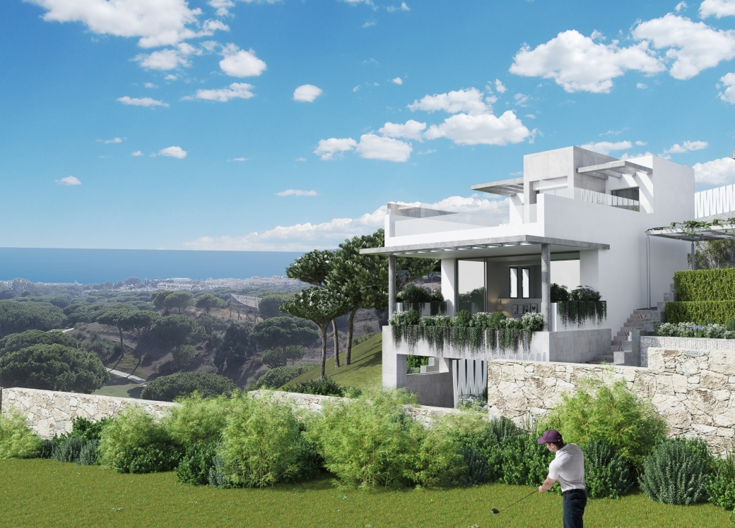 Views from the brand new development in Estepona. Off plan villas for sale in Estepona with sea views, private pool and is front line Golf.